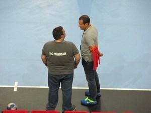Samsonenko, à droite, s'essaye au coaching en hand