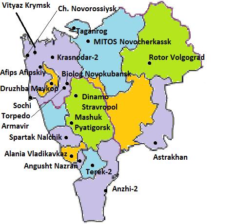 Notons l'absence de club professionnel dans les républiques de Karatchevo-Tcherkessie et de Kalmoukie