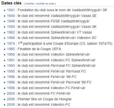 Les changements de nom du club via wikipedia