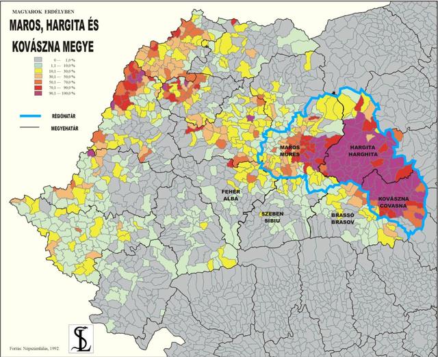 Les județ de Mureș, Covasna et Harghita, où la minorité hongroise est très présente. (carte hu-lala.org)