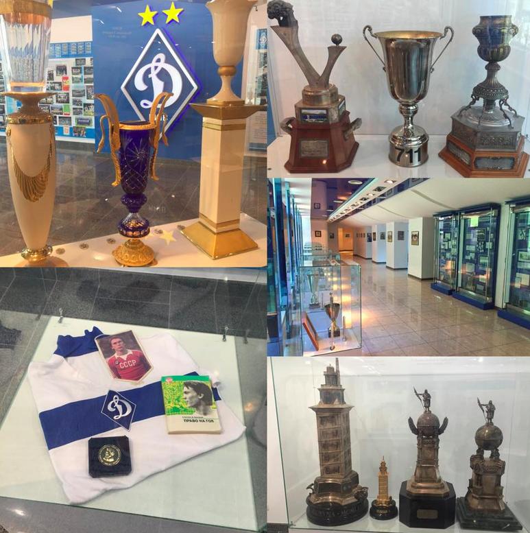 L'armoire à trophées du Dynamo, de l'ère soviétique aux joutes ukrainiennes.